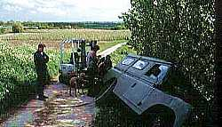 Land Rover in ditch